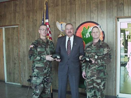 Pictured from left: Major Collins, Lt.Col. Ledee and Major Snowden